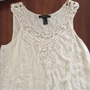 02f8655d37 Forever 21. White/Cream Colored Crochet Tank Top